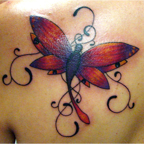 Dragonfly Tattoo on Back Shoulder