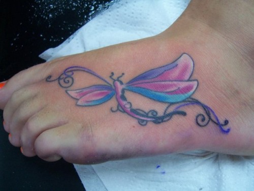 Feet Dragonfly Tattoo Designs