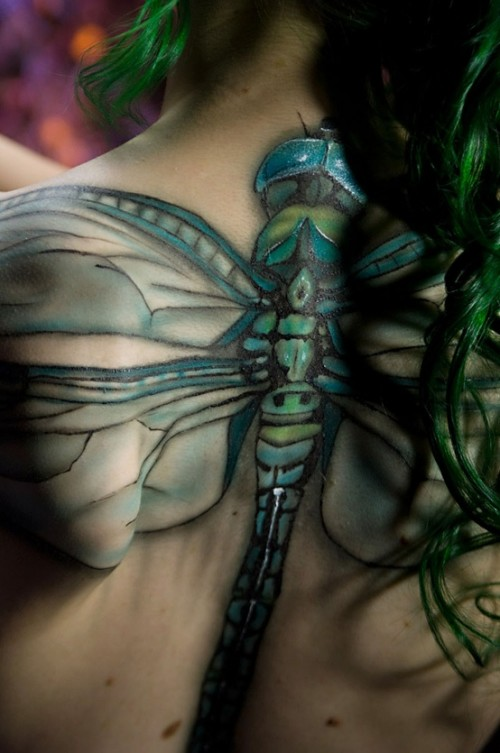 Wonderful Dragonfly Tattoo on Back