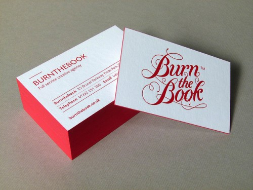 Burnthebook Letterpress Business Card