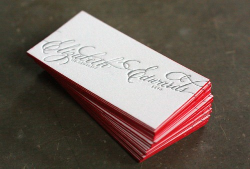 Calligraphy Letterpress Calling Cards