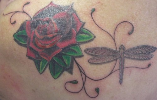 Rose Flower and Dragonfly Tattoos
