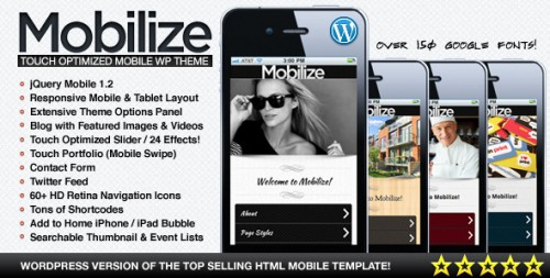 Mobilize - jQuery Mobile WordPress Theme
