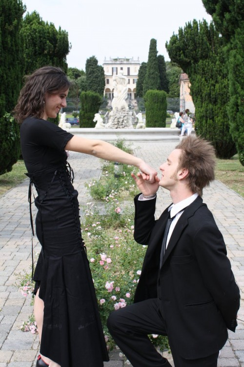 Romantic Couple in Black Dress