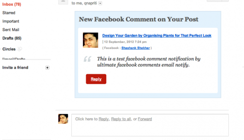 Facebook Comments Email Notify