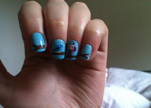 Blue and Birds Nail Ideas