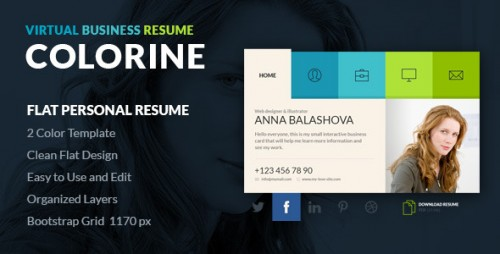 Colorine vCard Resume PSD Template