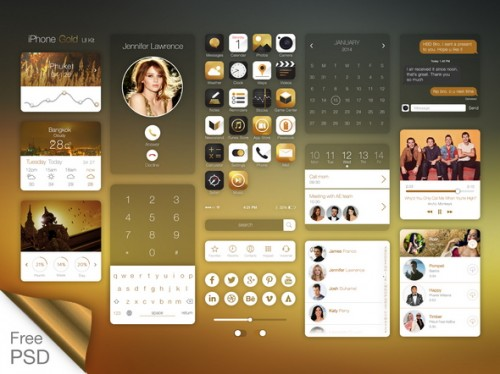iPhone Gold Ui Kit - Free PSD