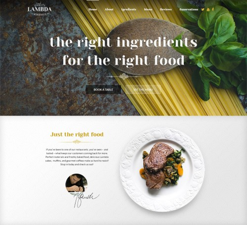 One Page Restaurant PSD Template